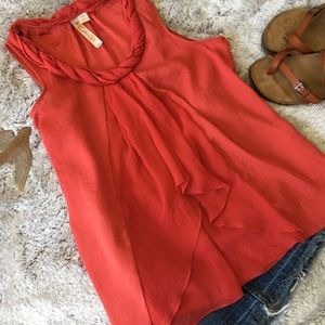 A Diva Coral Red Sleeveless Top Sz Medium